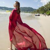春季上新 緞面純色沙灘巾超大百搭披肩女夏兩用海邊出游防曬多功能絲巾紗巾