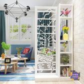 屏風 現代中式屏風隔斷客廳鏤空雕花裝飾玄關櫃餐廳阻斷簡約時尚置物架T 2色