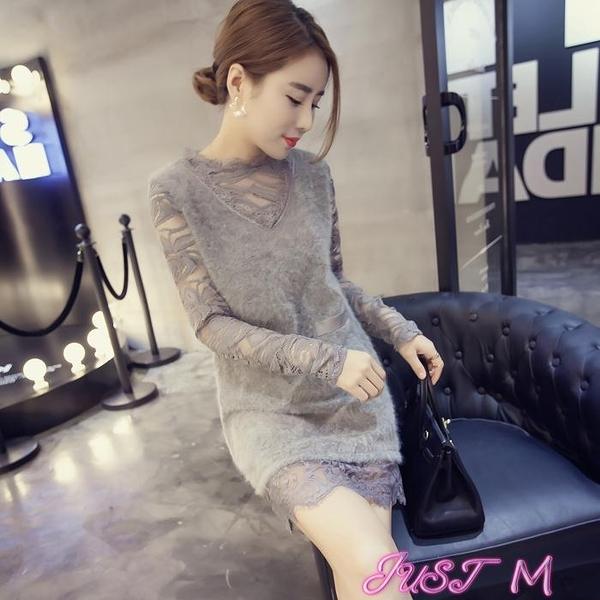 蕾絲洋裝2021秋冬新款長袖蕾絲連身裙仙女超仙中長款輕熟風氣質打底裙 JUST M