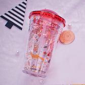 tanana圣誕塑料水杯女學生韓版便攜杯子ins少女心網紅吸管杯成人