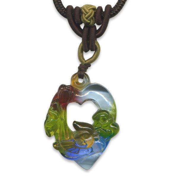 鹿港窯~居家開運水晶琉璃項鍊~鴛鴦戲荷 附精美包裝 ◆免運費送到家◆