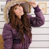 質感保暖外套--亮麗保暖款亮面尼龍毛邊豹紋連帽短版鋪棉外套(黑.紅.紫M-L)-J64眼圈熊中大尺碼