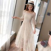 2018夏裝新款韓版氣質中長款一字肩蕾絲連洋裝 ys360『毛菇小象』
