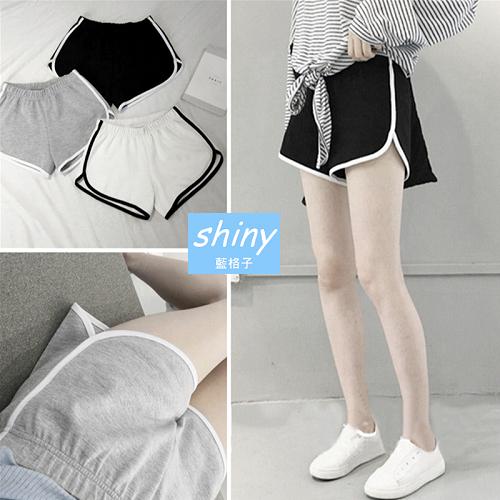 【V1750】shiny藍格子-夏感休閒.高腰包邊色鬆緊腰短褲