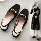 大尺碼女鞋35~43 2020新款韓版百搭時尚方頭馬銜扣涼鞋 低跟涼拖鞋 2色