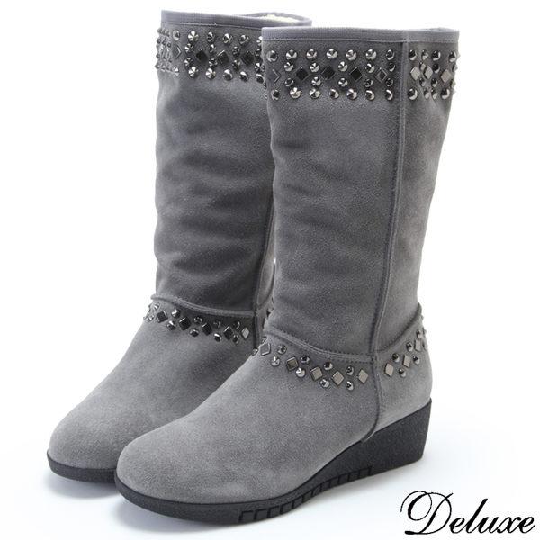 Deluxe-全真皮時尚個性鉚釘厚底雪靴-灰