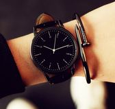 手錶 正韓時尚潮流簡約大錶盤男錶皮帶女錶情侶手錶