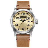 JEEP SPIRIT 自然率性休閒皮帶錶-銀框淺黃x淺咖啡色