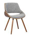 【森可家居】哈維胡桃實木腳灰布餐椅 8JF38340 復古 英倫 北歐工業風 設計師款