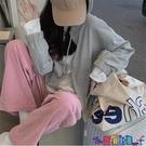 運動長褲 燈芯絨褲子女韓版粉色百搭直筒闊腿褲寬鬆運動休閒束腳長褲潮新品