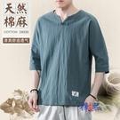 2021款短袖t恤男棉麻中國風五分袖簡約純色復古亞麻中式唐裝上衣 快速出貨