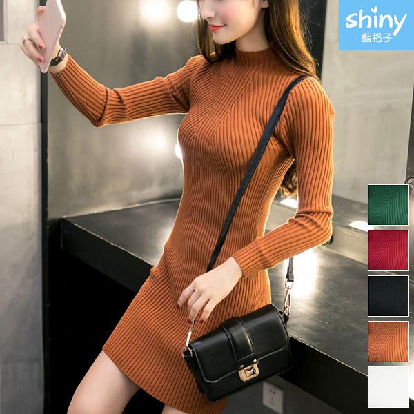 【V2140】shiny藍格子-氣質甜美. 純色修身包臀長袖連身裙