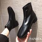PAPORA軟柔好穿方頭保暖拉錬式馬丁短靴中筒靴KA631