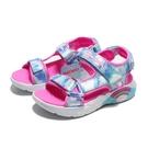 SKECHERS 童鞋 涼鞋 RAINBOW RACER 藍粉 彩虹 魔鬼氈 發光 燈鞋 中童 (布魯克林) 302975LBLU