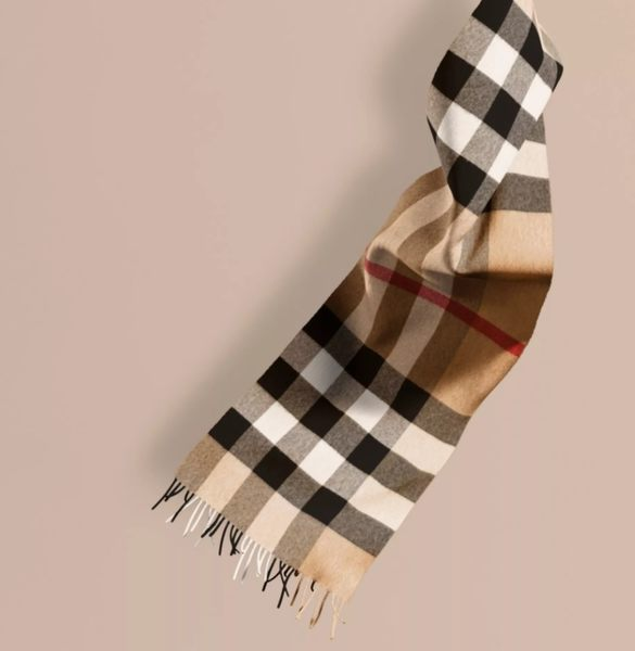 【京之物語】英國代購正品BURBERRY駝色大條經典格紋喀什米爾圍巾