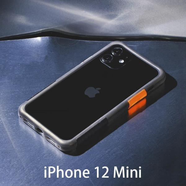 【南紡購物中心】透黑框黑戀橘 Telephant 太樂芬 NMDer 抗汙防摔手機殼 iPhone 12 Mini (5.4吋)