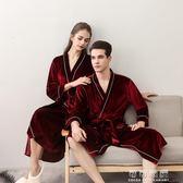 夏季和服情侶睡袍  女士中長款金絲絨四季浴袍  男士日式冰絲睡衣 可可鞋櫃