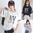 (全館一件免運)DE SHOP~韓版經典百搭NY寬鬆短袖T恤女(T-058)均碼
