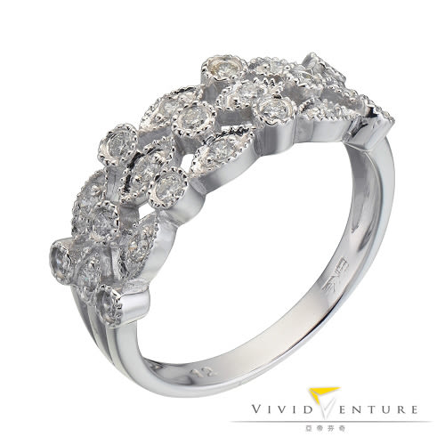 鑽石戒指 拼接款36分 線戒 白K金台 亞帝芬奇 簡約奢華系列