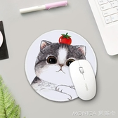 滑鼠墊 圓滑鼠墊可愛女生小號卡通貓咪創意加厚鎖邊防水辦公桌家用護腕墊 莫妮卡小屋