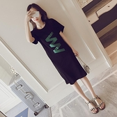 降價兩天 洋裝-短袖印花氣質連身裙女夏2017新款韓版大尺碼女裝顯瘦中長款黑色裙子