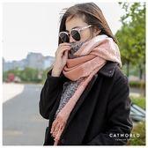 Catworld 復古拼色流蘇圍巾【18003223】‧F