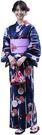 Nishiki【日本代購】和式浴衣+束腰帶2件套 女士成人用 - 菊に矢絣