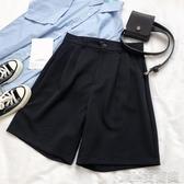 夏季新款推薦簡約日繫少女超好穿的顯瘦黑色高腰寬鬆休閑西裝闊腿短褲 簡而美