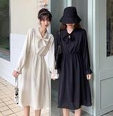 長裙 春2021年新款韓版黑色中長款法式連衣裙復古打底V領長袖裙子女【快速出貨八折優惠】