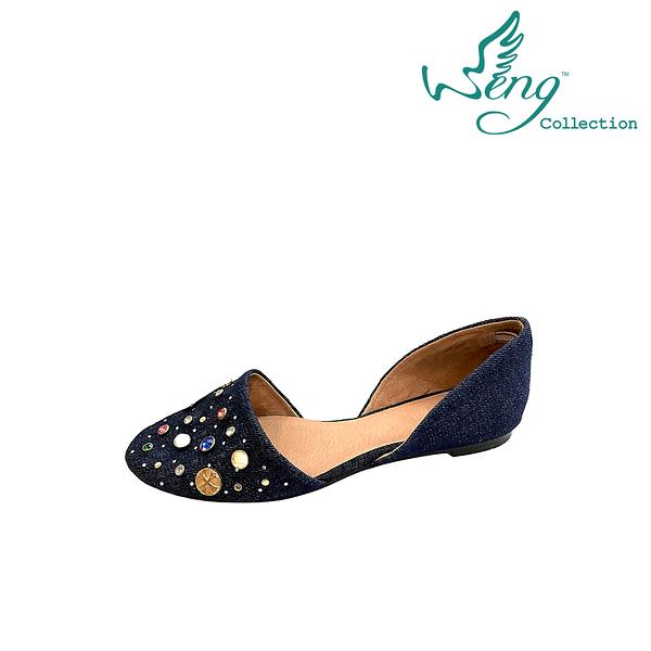 【WENG COLLECTION】Orbit Stone 丹寧圓頭平底鞋 深藍(平底鞋)
