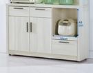 【森可家居】菲爾4尺雪山白碗盤櫃下座 7JF416-3 中島廚房餐櫃 收納 木紋質感 北歐風