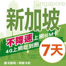 【TEL25】新加坡上網卡 7日 不限流量不降速 4G上網 吃到飽上網SIM卡