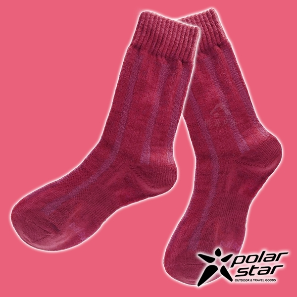 【PolarStar】女 羊毛保暖襪『酒紅』P18610 露營.戶外.登山.保暖襪.彈性襪.休閒襪.長筒襪.襪子