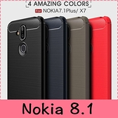 【萌萌噠】諾基亞 Nokia 8.1  類金屬碳纖維拉絲紋保護殼 軟硬組合款 全包矽膠軟殼 手機殼 手機套
