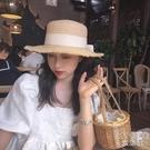 平頂綁帶草草帽蝴蝶結毛邊女夏季度假沙灘大檐遮陽帽 快速出貨