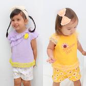 短袖套裝 蕾絲 小飛袖 花朵 星星 女寶寶 上衣 短褲 2件套 Augelute Baby 60040