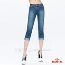BRAPPERS 女款 新美腳Royal系列-彈性鑲鑽七分反摺褲-藍