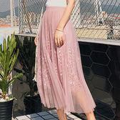 現貨-裙子-蕾絲印花鬆緊腰頭百褶半身中長裙KiwiShop奇異果0412【SZZ8835】