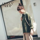 Queen Shop【01023133】大地配色雙口袋長袖襯衫外套  兩色售*預購*