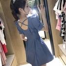 小心機露背法式小眾2021夏季牛仔裙藍色氣質性感洋裝女收腰顯瘦 【端午節特惠】