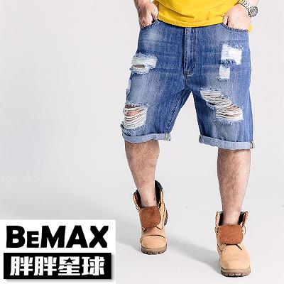 【胖胖星球】中大尺碼‧率性破壞造型牛仔短褲 38腰~50腰‧加大【97302】