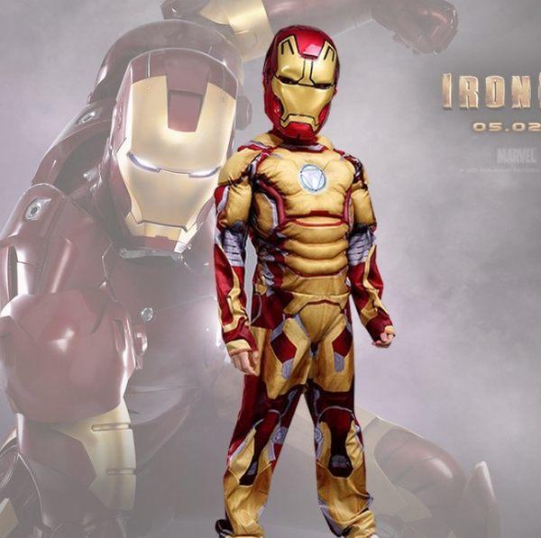 衣童趣♥兒童角色扮演 金色鋼鐵人 帥氣造型肌肉表演服裝 孩童生日禮物鋼鐵人 贈面罩
