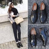 牛津鞋春季新款工作英倫舒適平底學院風中跟休閒黑色秋小皮鞋女 蘿莉小腳ㄚ
