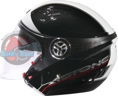 [中壢安信]法國 ASTONE DJ10C 素黑/OO10白 半罩式 組合式 安全帽 內置墨片 可裝下巴
