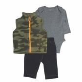 Carter s卡特 絨毛高領背心+包屁衣+褲子 三件組 迷彩   男寶寶套裝(嬰幼兒/小孩/baby)