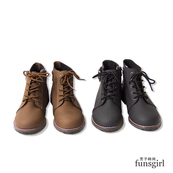 MIT.騎士靴低跟側拉鍊綁繩簡約短靴2色~funsgirl芳子時尚