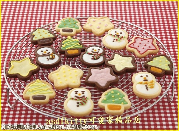 asdfkitty*特價 日本製 聖誕節 星星.樹.雪人餅乾壓模型+翻糖模-貝印 × COOKPAD正版