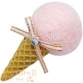 Cutie Bella草莓甜筒全包布手工髮夾-Ice Cream-Strawberry