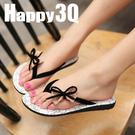 日韓風少女甜美夾腳蝴蝶結平底沙灘鞋拖鞋涼鞋-黑/藍35-39【AAA0200】預購