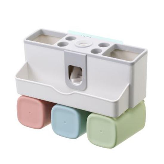 洗漱架 無痕貼 自動 擠牙膏器 收納置物架 類IKEA 漱口杯 北歐風 三杯 多功能牙刷架【Q132】MY COLOR
